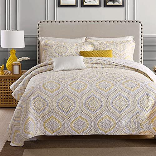 Bomullssängklädsel Set-andningsbar sängfilt-blommig quiltad sängöverdrag Klassisk design hela säsongen, sängöverdrag Lätt sängkläder, imiterad lapptryckssäng i tre delar,Gold
