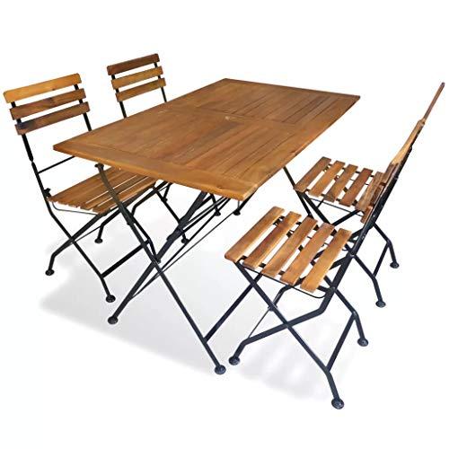 Cikonielf 5 pz/Set da Tavolo da Giardino Pieghevole in Massello di Acacia Tavolo da Picnic con 4...