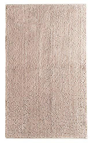 Dreamhome hochwertige große Badematte 65x110 rutschfest Badezimmerteppich Badvorleger schnell trocknender pflegeleichter Duschvorleger Farbe: Sand