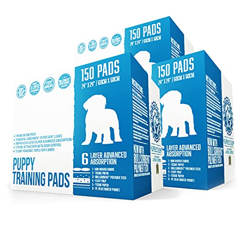 Bulldogology Premium Puppy Pee Pads with Adhesive Sticky Tape (24x24) Large Dog Training Wee Pads with 6 Layer Extra Quick Dry Bullsorbent Polymer Tech (450-Count, White)