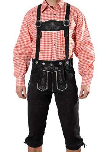 Trachten Lederhose Kniebundhose mit Trägern aus feinstem Veloursleder in schwarz, Bayrische Trachtenlederhose für das Oktoberfest Größe 52