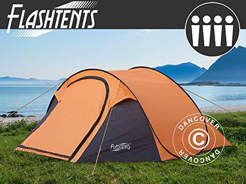 Dancover Pop-Up-Campingzelt, Flashtents®, 4 Personen, Medium PT-2, orange/dunkelgrau