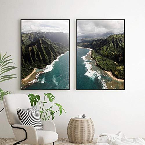 YFYW antenne strand print natuur poster grote muurkunst landschap canvas schilderij schilderijen voor woonkamer wooncultuur 50 x 70 cm x 2 stuks geen lijst