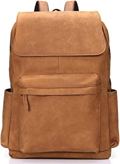RJW Men's Leather Large-Capacity Backpack Retro Crazy Horse Leather Travel Bag Leather Outdoor Leisure Backpack Fashion