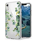 RicHyun Clear Floral iPhone XR Case, Eucalyptus Green Leaves Pattern Plastic Hard Back Case with Soft TPU Bumper Case Cover for Women Girls