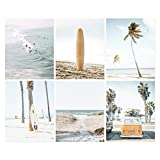 Coastal wall art set of 6 beach prints, Summer California print, ocean print, beach print, Van, Soft pastel art, Surfboard, Palm print, surf Print, 6 piece Print, Unframed (11' x 14' x 6 Prints)