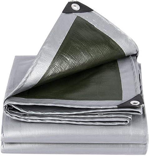JINSH Toile imperméable épaisse bache épaisse, bache de Prougeection Contre Les intempéries d'isolation en Toile de bache de Prougeection Contre Les intempéries, gris + Vert (Couleur   A, Taille   6x7M)