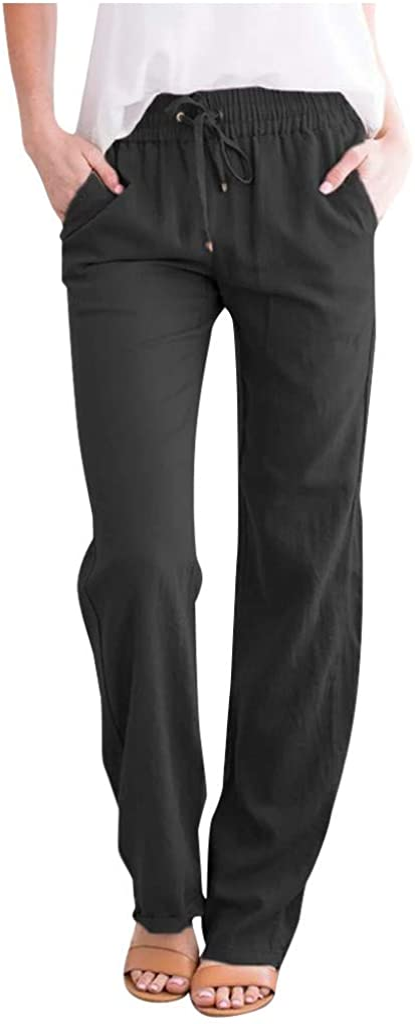 Nihewoo Women Wide Leg Linen Pants Drawstring Elastic Waist Pants Long Straight Pants Jogger Pants with Pockets