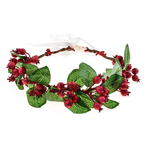Floral Fall Flower Crown Vintage Nature Berries Festival Woodland Wedding Headband HD-02 (Christmas Red)