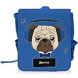 Kinder-Rucksack mit Namen Benny und schönem Motiv - Mops mit Kopfhörer - für Jungen