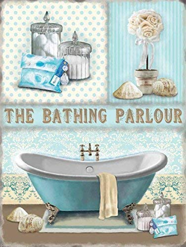 GNKJYY-T Bathing Parlour Bathroom Shabby Chic Home Gift Large Metall/Stahl Wandschild