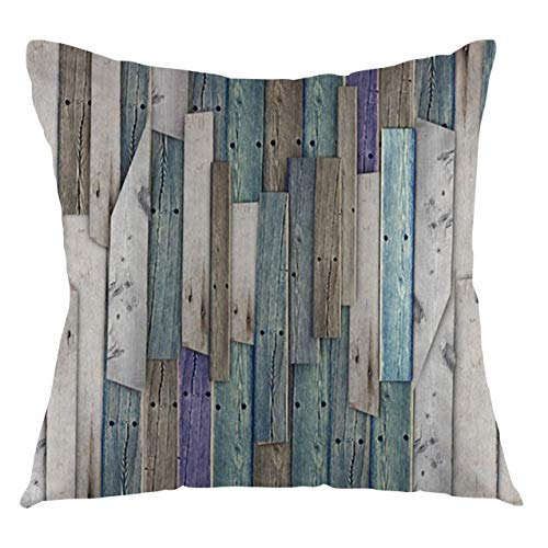 FULIYA Rustic Throw Pillow Cushion Cover Image of Blue Grey Grunge Wood Planks Barn House Door Nails Country Life Theme Print Decorative Square Accent Pillow Case, 18' X 666',Gray Blue
