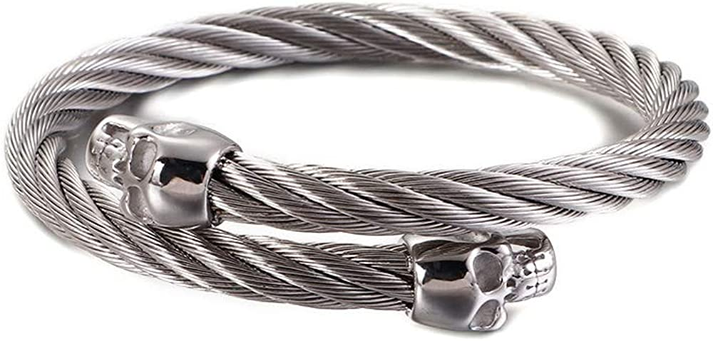 Punk Gothic Black Stainless Steel Viking Cable Wire Skull Head Cuff Bangle Bracelet