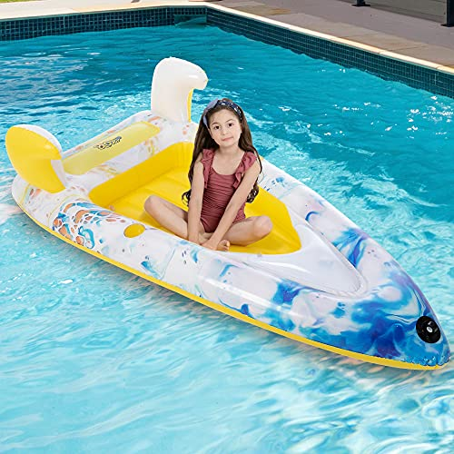 Inflatable Boat Swimming Pool Float for Kids and Adults Summer Water Float Toys 67'x31.5'Lounge Raft Decorations(Yellow)