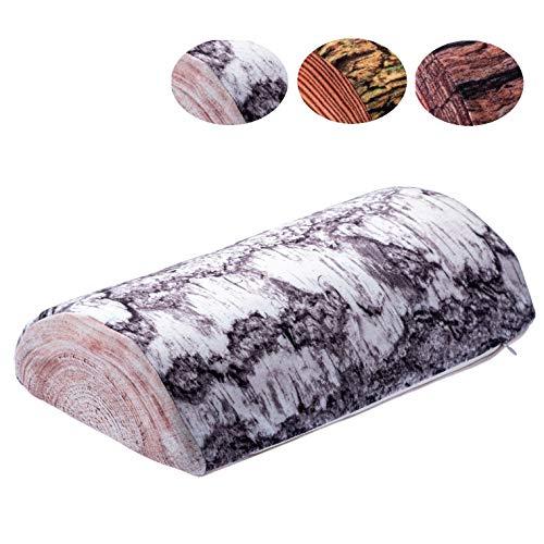 KADAX Halbrolle, Nackenrolle aus Schaumstoff, 40 x 21 cm, Kopfkissen mit waschbarem Bezug, Kissen für Bett, Nacken, Relaxkissen, halbrund, Lagerungsrolle, geeignet für Allergiker (Birke)
