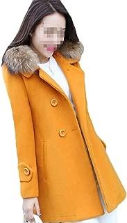 Howely Women's A-line Mid Long Woolen Jacket Faux Fur Collar Overcoat Outwear