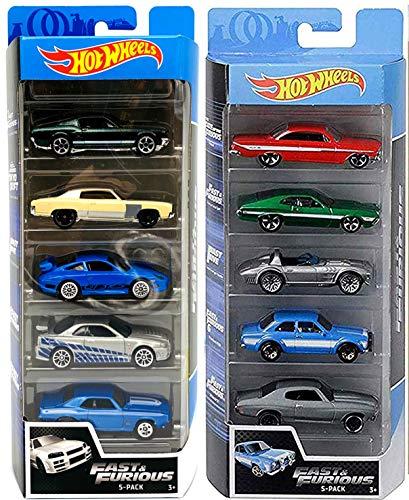 Hot Wheels Drift 5 Fast & Furious Speed Race - Juego de 10 coches para Ford / Impala / Corvette / Porsche / Nissan Skyline / Impala / Gran Torino / Camaro / Monte Carlo 2 artículos