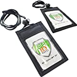 2 Pack - Slim ID Badge Holder Neck Wallets (Vertical) with Clear Front Display Window, Bac...