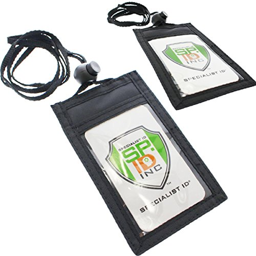 2 Pack - Slim ID Badge Holder Neck Wallets (Vertical) with Clear Front Display Window, Back Zipper Pouch Pocket & Adjustable Length Lanyard by Specialist ID (Black)