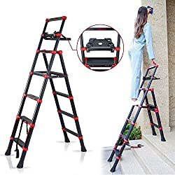 CharaHOME Adjustable Telescopic Step Ladder