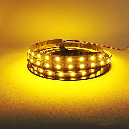 REY Tira LED SMD de 90cm Adhesiva y Flexible, Resistente al Agua, Color Amarillo