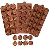 3 moldes de silicona para chocolate con forma de corazón y flores, para hacer chocolate, dulces, tartas, gelatina, pudín, jabón hecho a mano y molde para hornear chocolate para el día de San Valentín.