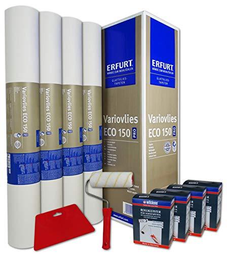 WACOLIT-SET 4 Rollen 75m² ERFURT Eco Vlies 150g inkl. 4x Wilckens Rollkleister + Tapetenglätter + Kleisterroller, Variovlies Malervlies überstreichbare Vliestapete
