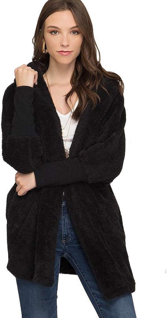 Women's Oversized Fake Fur Fleece Jacket with Hood-TJ1044