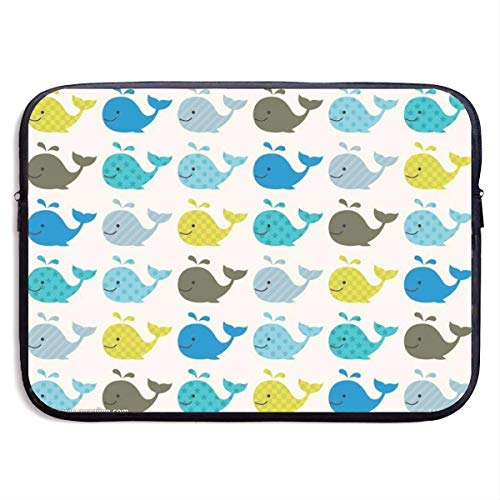 Colorful Whale 15 Inch Laptop Sleeve Bag Portable Zipper Laptop Bag Tablet Bag,Water Resistant