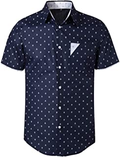 THWEI Mens Point Collar Button Down Short Sleeve Anchor Pattern Casual Collar Contrast Shirt