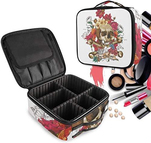 Cosmétique HZYDD Crâne Noir de Fleur de Rose Make Up Bag Trousse de Toilette Zipper Sacs de Maquillage Organisateur Poche for Compartiment Femmes Filles Gratuit
