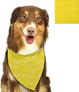 W Machine Sky Reversible Pet Dog Bandanas Yellow,Hypnotic Mosaic Shaded Circular Motifs Bursting with Curvy Modern Lines Art Print, Orange Yellow Bibs Colorful