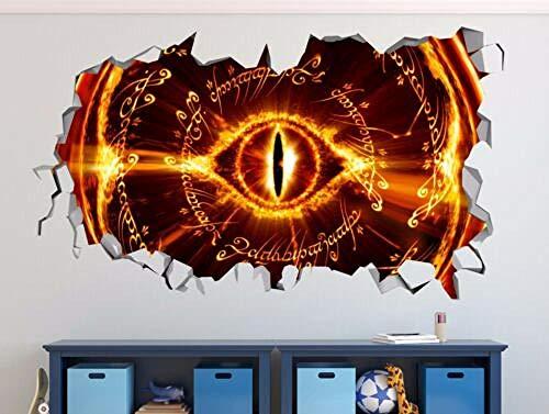 SULI Pegatina de pared El Señor de los Anillos rompió la calcomanía de pared 3D pegatina decorativo vinilo mural póster