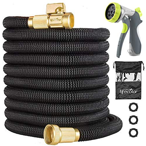 lifecolor 50FT Expandable Garden Hose, Lightweight Expanding Water Hose with Double Latex Core, 3/4 Solid Brass Connector and Extra Strength Fabric with 8 Zinc Function Nozzle