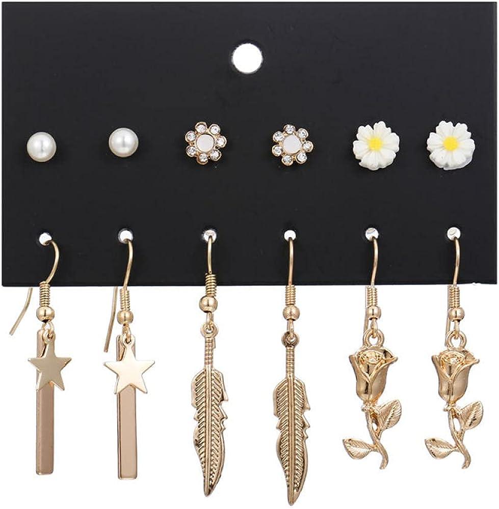 Challenge online shop the lowest price Ladies Earrings1 Card 6 Pair Of Diamond Pen Flowers Leaves Pearl