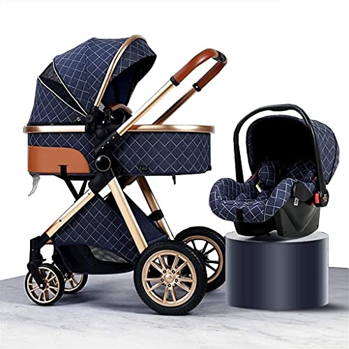 YZPTD Lightweight Stroller Infant Prams 3 in 1 Baby Trolley Travel System with Car Seat Easy Fold Stroller Footmuff Blanket Cooling Pad Rain Cover Backpack Mosquito Net (Color : Blue)