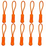 Yzsfirm 10 Pcs Extension Zipper,Orange Durable Zipper Pulls Strong Nylon Cord Rubber Textured No-Slip Pull Rope for Any Zipper