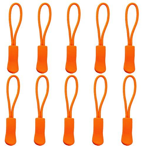 YZSFIRM 10Pcs Replacement Zipper Pulls Orange Zipper Pull Cord Extender for Backpacks, Jackets, Luggage, Purses, Handbags