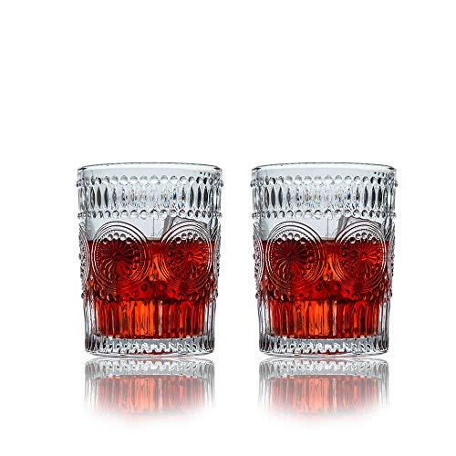 SkySnow® Vasos de Whisky, Juego de Vasos de Whisky, Vaso de Vidrio Transparente Sin Plomo, Vasos de Vaso únicos Batidoras de Ron Baileys Vodka Gin, Juego de 2