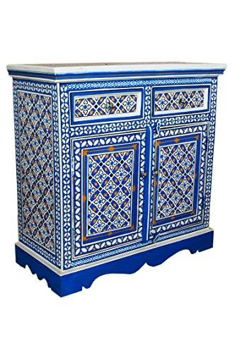Orientalische Kommode Sideboard Schwarz Weiß oder bunt | Orient Vintage Kommodenschrank orientalisch handbemalt | Indische Landhaus Anrichte aus Holz | Asiatische Möbel aus Indien (Bunt)
