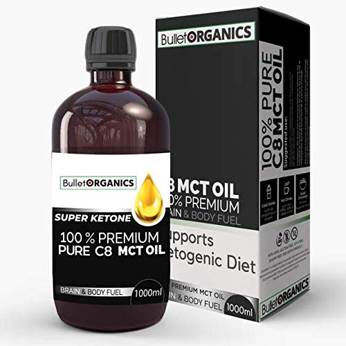 Bullet Organics – BulletMCT   Premium C8 MCT Oil   Ketone Fuel Boost   Up to 4X More Ketones Than Other MCTs   100% Pure C8 MCT Oil   Vegan Keto Supplement (1000ML)
