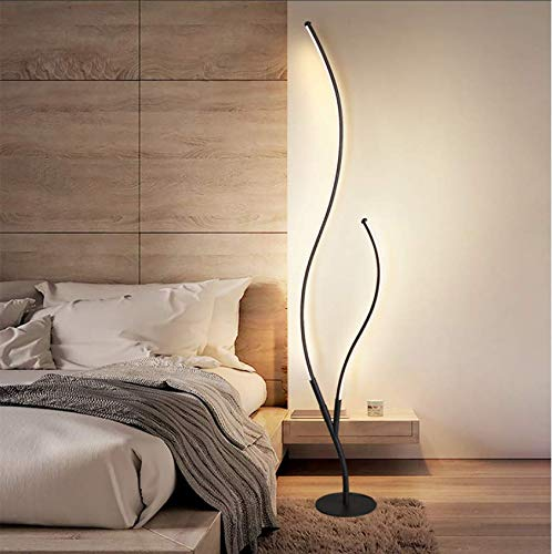 MODIRNATION 'Curves' Modern Floor Lamp, Stylish Curved Dimmable LED Lamp with Remote Control, Contemporary Unique Design, Tall Bright Light for Living Room, Bedroom, Home and Office