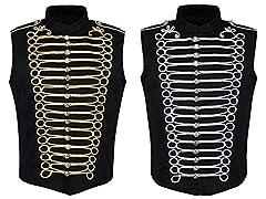 Ro Rox Men's Black Gold Steampunk Gothic Military Sleeveless Parade Jacket, Black & Gold, Men's XXXL #3