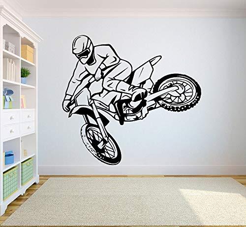 tzxdbh Muursticker Motorcross Gratis stijl Dirt Bike Sticker Slaapkamer sport vuil fiets motorfiets Gepersonaliseerde jongens tiener kamer 42 * 45cm