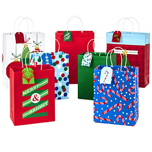 Hallmark Christmas Assorted Gift Bag Bundle with Mix-n-Match Gift Tags, Traditional (Pack of 7 Gift Bags: 3 Large 13', 4 Medium Gift Bags 9'; 7 Gift Tags)
