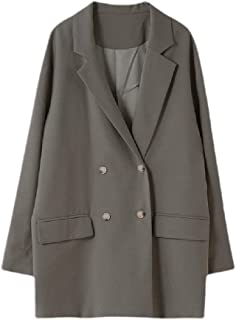 neveraway Women Basic Style Mid Long Button Solid Open-Front Jacket Blazer Coat