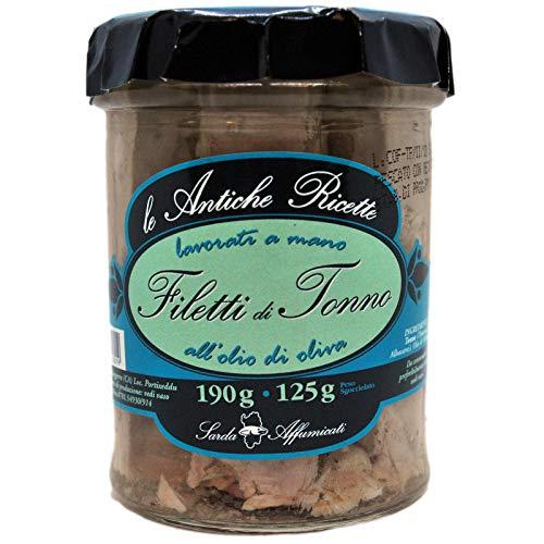 Filetti di tonno Pinna Gialla di alta qualità all'olio d'oliva lavorati a mano 190g dalla Sardegna.