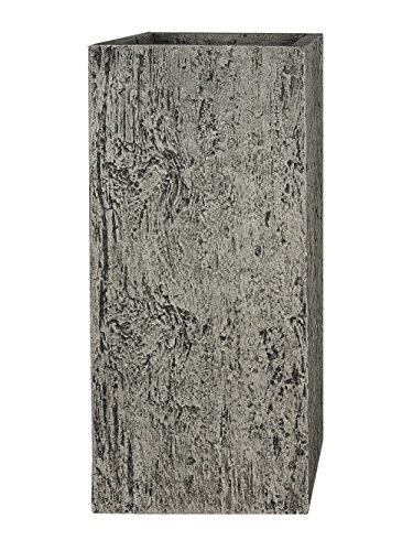 Pflanzwerk® Maceta Fibra de Vidrio Tower Wood Gris 50x23x23cm XXL *Resistente a Las heladas*...