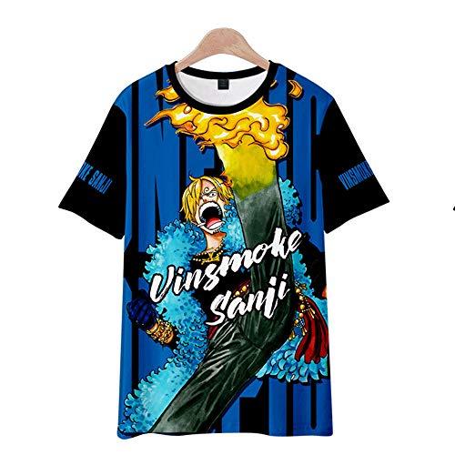 AQWD One Piece Camiseta Unisex Verano 3D Manga Corta Pareja Refrescante Camisa Deportiva Transpirable Dibujos Animados Personalidad Impresión Niños Regalos-E/M