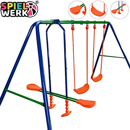 Deuba Schaukelgerüst | 200kg max | 2X Schaukel | 1x Schaukelwippe | lackiertes Metall | Kinderschaukel Gartenschaukel Schaukelgestell für Kinder
